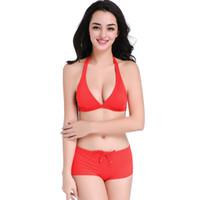trajes de baño de chicas jóvenes al por mayor-2019 Bikinis Sexy Young Girls Volver Botón Ajustado Traje de baño rojo Corbata Sexy Traje de baño 2 piezas Conjunto de bikini Trajes de baño
