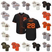 boş beyaz siyah beyzbol mayosu toptan satış-Erkek Kadın Gençlik SF Giants Jersey 28 Posey Jersey Siyah Gri Turuncu Beyaz Ev Yol Selam Servis Boş Beyzbol Formalar