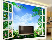 Wholesale windows live tv online - 3d wallpaper custom photo murals Hundreds of flowers smashing D window living room TV background wall wall art canvas pictures