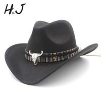 hohles band groihandel-Frauen Männer Wolle Hollow Western Cowboyhut Roll-up Cowgirl mit breiter Krempe Jazz Equestrian Sombrero Cap Mit Quaste Tauren Ribbon Y19070503