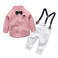 conjuntos de trajes de niño blanco al por mayor-Ropa para niños 2019 Otoño Ropa para niños Camisa + pantalones blancos 4 unids Outfit Kids Clothes Boy Suit Set para ropa de niño conjuntos J190513