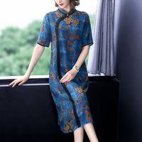 genou cheongsam achat en gros de-2019 chinois robe qipao cheongsam en mousseline de soie robe femmes flore imprimer chinois cheongsam traditionnelle longueur au genou oriental