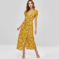 Wholesale cook dress resale online - 2020 Temperament Light Cooked Women s Wear V Collar Big Pendulum Type Dress