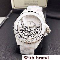 zafiro cuarzo ceramico negro al por mayor-Nuevo reloj de lujo Lady Graffiti Watch White / Black Ceramic Sapphire Glass Mirror High Quality Quartz Fashion Womens Watch Relojes