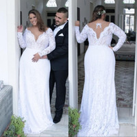 Wholesale long sexy red black wedding dresses online - Vintage Plunging V Neck Plus Size Lace Wedding Dresses Sexy Backless Long Sleeves Bridal Gowns Custom Made Vestido De Novia