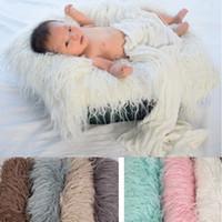 новорожденный реквизит из искусственного меха оптовых-Фотография одеяло из искусственного меха фото детские одеяла мягкая длинная куча съемки одеяло новорожденный фотографии реквизит для Сто дней 7 цветов YW1925