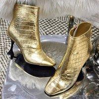 тисненый чехол оптовых-Новые женщины Крокодил Рельефный металлический телячьей кожи класса люкс дизайнер обуви Женские ботинки моды случайные верхнего качества Размер 35-40 с коробкой