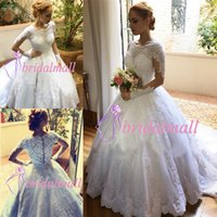 Wholesale coral bead for sale - Robes de mariée New Appliqued Lace Wedding Dresses With Sheer Long Sleeves Beaded Boho Bridal Gowns Plus Size Buttons Back Bride Dress