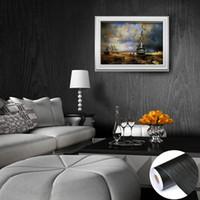 faux holz tapete großhandel-Dunkler Faux-Kabinett-Holz-Tapeten-PVC-schöne einfache schwarze Tapeten für Wohnzimmer-Wand-Tür-Hintergrund
