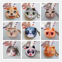 Wholesale kids cat makeup resale online - Kids Cute Coin Purse Cat Dog Face Zipper Small Wallet Buckle Plush Girl Student Makeup Bag Pouch New Womens Lovely rc N1