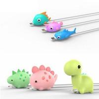 nette karikaturfische großhandel-Cute Fish Dinosaur Cable Buddies Datenleitung Schutzhülle Anti-Break-Schutz Kopfdeckel Cartoon USB-Kabel Kopfhörerschutz RRA351