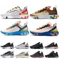 erkek koşu ayakkabıları toptan satış-Nike react element 87 Koşu Ayakkabıları T728N siyah beyaz atletik açık Spor Koşu ayakkabı eğitmen hız kadın sneakers