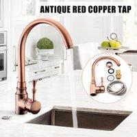 antike messing badezimmer wasserhähne großhandel-Antique Brass Einstellbare Hot Cold Water Mischbatterie Bad Küche Waschtischarmatur