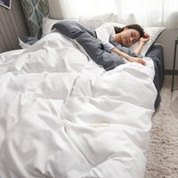 ingrosso letti matrimoniali-Completo letto in cotone bianco e grigio con copripiumino matrimoniale king size con federa, biancheria da letto singola e set letto