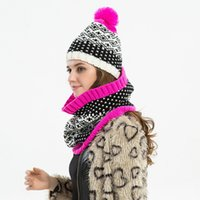 Wholesale warm scarf bibs for sale - Group buy Hat bib suit Snowflake hat scarf fashion two piece suit Autumn and winter ladies warm decoration EEA438