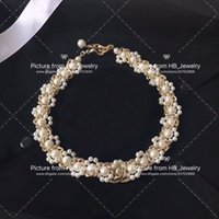 Wholesale beaded necklace bracelet resale online - Popular fashion brand pearl necklace bracelets for lady Design Women Party Wedding Lovers gift Luxury Jewelry for Bride With BOX