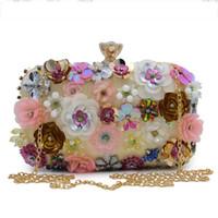 Wholesale beaded wedding purses resale online - Socialite Women Flower Evening Bags Wedding Party Bridal Beaded Purse Crystal Clutch Handbag Bolso Fiesta Mujer