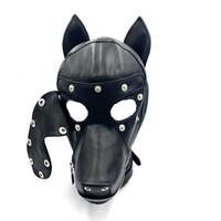 Wholesale adult dog face mask resale online - Soft Leather Bondage Dog Head Hood Headgear Face Mask Detachable Eyepatch Adult Slave BDSM Bed Games sex Toy