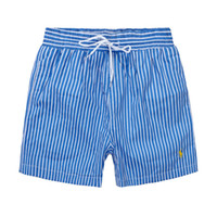 pantalones cortos al por mayor-2019 verano delgado para hombre deportivo casual pantalones surf playa pantalones raya poliéster de secado rápido pantalones cortos de tres cuartos hombres