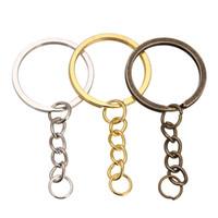 mücevherata bronz zincir toptan satış-Takı Accessories100 adet / grup Anahtarlık Anahtarlık Bronz Rodyum Altın Renk 28mm Uzun Yuvarlak Bölünmüş Anahtarlıklar Anahtarlık Takı Yapımı Toptan