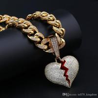 ingrosso mens grandi catene-Grande campana cuore spezzato ciondolo CopperZicron Hip Hop Jewelry designer gioielli corda catena ghiacciata Catene Mens collana