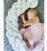 bebek mavi beşik yatak takımları toptan satış-INS Yenidoğan çocuklar yatak çit 2.2 M bebek çocuk örgü büküm dokuma yatak yastık çocuk yumuşak çit 14 renk bebek odası dekorasyon F9684