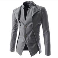 lässige, schmal geschnittene, stilvolle kleidung großhandel-Lässige neue Ankunfts-dünne stilvoll Fit One Button Anzug Männer Blazer-Mantel-Jacken Männer Mode Kleid Kleidung