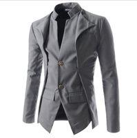yeni şık takım elbise toptan satış-Yeni Geliş Casual Slim Şık Fit Bir Düğme Suit Erkekler Blazer Ceket Ceket Erkek Moda Elbise Giyim