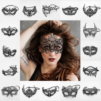Wholesale hollow masks for sale - Group buy 14Styles Crystal Diamonds Masks Women Girl Metal Venice Eye Mask Masquerade Hollowed Out Halloween Dance Party Mask new GGA2819