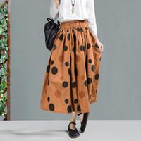 1d856cf3e Spring 2019 Women Long Cotton Linen Maxi Pleated Skirt Polka Dot Midi Skirt  High Waist Elasticity Casual Party Skirt Womens
