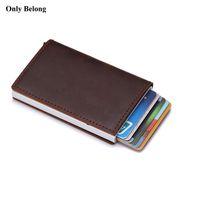 id kreditkartenschutz großhandel-Echtes leder aluminium brieftasche identitätssperrung brieftasche automatische pop-up kreditvisitenkarte case protector
