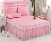 kore tekstilleri toptan satış-Kore Prenses Yatak Örtüsü Çarşaf Yastık Kral Kraliçe Dantel Yatak Etek Düğün Yatak Örtüsü Katı Renk Ev Tekstili