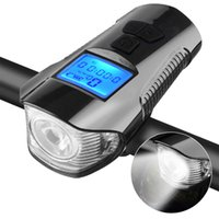 Wholesale cycling bike bicycle computer for sale - Group buy Bicycle Light Computer Speedometer Lights USB Rechargeable Bike Front Light LED Warning Cycling Portable