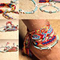 Wholesale braid bracelet chains resale online - Fashion New Braided Bracelet Chain Adjustable Anklet Winding Rope Bracelets Hand Woven Friendship Anklets For Woman Girls Handmade M126Y