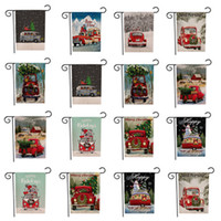Christmas Garden Flags Banners cartoon Pattern xmas Theme Two Sides animal Patterns party Christmas decorations Banner Flags 30pcs T2I5469