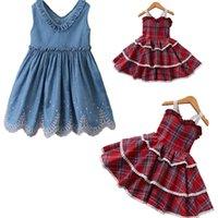 boş etekler toptan satış-Bebek Kız Yaz Giysileri Çocuk Giyim Pamuk Kot Dantel Çocuklar etek Eğlence Giyim Bebek Gündelik Giyim Denim Elbiseler 80-130 XZT074