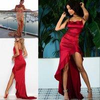 красные платья выпускного вечера bodycon оптовых-Нерегулярные оборки сексуальные длинные макси рождественские платья выпускного вечера женщин красный атласный спинки Bodycon вечернее платье элегантный вечернее платье Сплит 2020