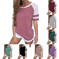 ingrosso abbigliamento di codifica colore-Ladies Stripe Splicing T-Shirt Girocollo Colore puro Moda allentata Camicia maniche corte Casual Multi Codice Estate Abbigliamento per la casa 19cr E1