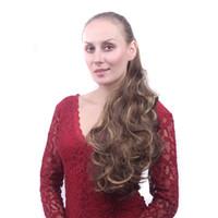 lange blonde pferdeschwänze groihandel-Lange lockige Klaue Pferdeschwanz synthetische Haarverlängerungen Haarknoten Little Pony Tail Frauen Gefälschte HairPiece Blonde Frisur