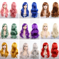 cheveux long noir rouge achat en gros de-Perruque Longue Ondulée Cosplay Rouge Vert Violet Rose Noir Bleu Ruban Blonde Marron 70 Cm Perruques Synthétiques