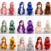 kırmızı siyah uzun saç toptan satış-Uzun Dalgalı Cosplay Peruk Kırmızı Yeşil Mor Pembe Siyah Mavi Şerit Sarışın Kahverengi 70 Cm Sentetik Saç Peruk