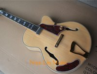 Wholesale natural wood color electric guitar resale online - 6 String Semi hollow Electric Guitar Natural wood Color Gold Hardware Flame Maple Veneer Back and Side and can be Customized