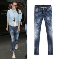 Wholesale blue girl painting resale online - Sexy Jeans Girl Painted Patches Bleach Wash Fade Skinny Fit Fashion Design Denim Pants For Lady