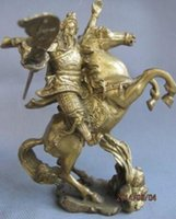 Wholesale chinese statue gods for sale - Group buy Arts Crafts Copper Exquisite Chinese Brass Warrior God of Guan Gong Ride on Horse Statue