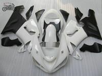 ingrosso corone bianche zx-Kit su ordinazione libero carene Kawasaki Ninja ZX6R 05 06 ZX6R 636 ZX636 bianco corsa su strada moto kit carenatura 2005 2006 ZX 6R