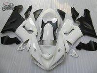 blanc zx carénages achat en gros de-Le kit personnalisé gratuit pour Kawasaki Ninja ZX-6R 05 06 636 ZX6R kit carénage de moto de course de route blanche ZX636 2005 2006 ZX 6R
