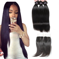 Wholesale light brown hair weave closure resale online - 28 quot Curly Body Wave Virgin Hair Extensions Deep Loose Wave With Lace Closure Straight Water Wave Human Hair Bundles With Closure
