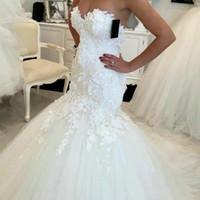 açık arka dantel düğün satışı toptan satış-Sıcak Satış 2019 Yeni Açılış Geri Mermaid Gelinlik 2017 Dantel Aplikler Sevgiliye Gelin Elbiseler Yeni Tasarım Zarif Gelinlikler