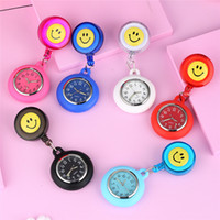 Wholesale white faced watches for men resale online - Cute Lovely Smiling Design Open Face Nurse Watch Analog Quartz Movement FOB Pendant Clip Watches for Men Women Doctor Gift