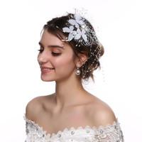 ingrosso clip di capelli del fiore bianco della piuma-Fashion Ladies White Forcine Mesh Wedding Flower Hair Clip Butterfly Accessori per capelli Sposa Perle Barrettes per le donne